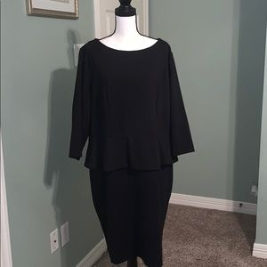 Talbots Black Dress with Peplum